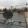 Aerial and dish mounting on flat roof